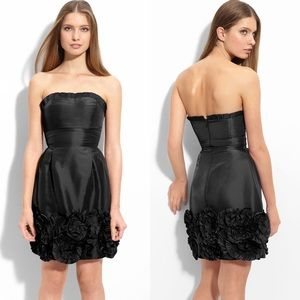 MAX & CLEO Rosette Trim Strapless Taffeta Dress